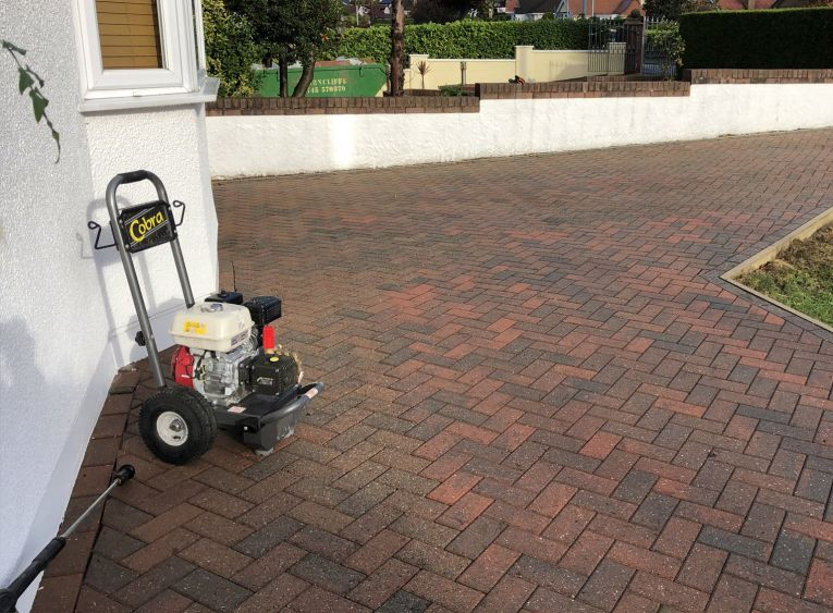 monoblock paving jet wash patio services conwy